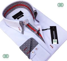 Brand New Men's Formal, Smart, White, Grey, with Red Double Collar Casual Italian Design Slim Fit Shirt, with Contrast Grey on White Pokka Dot - NEW DESIGN - M - 3XL
