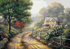 Lilac morning - cottage cross stitch | Yiotas XStitch