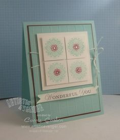 Products used  Cardstock: Pool Party, Whisper White, Cherry Cobbler  Ink: Pool Party, Cherry Cobbler, Basic Gray  Stamps: Loving Thoughts, Fresh Vintage.  Accessories: Simply Scored, 1 1/4″ Square punch, Bitty Punch Pack, Pool Party Baker's Twine, Basic Jewels