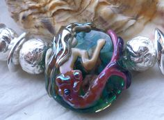 Lampwork Mermaid Focal Bead  Hand Made Glass by SilverByTheSea, £28.00
