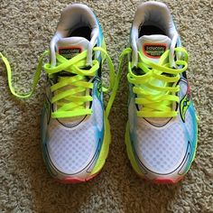Saucony running shoes Kinvara 6 Only worn once! Beautiful like new running tennis shoes women's size 7. Super light with good comfort and support. Bright neon colors! Saucony Shoes Athletic Shoes
