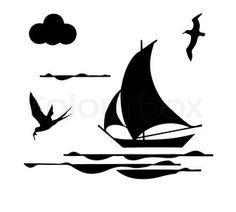 Vector Preto E Branco silhouette sailfish on white background Ship Silhouette, Flying Bird Silhouette, Silhouette Tattoos, Paisley Background, Air Image, Boat Drawing, Beach Illustration, Tattoo Graphic, Plantation