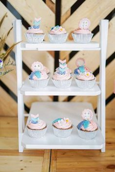 Don't miss this wonderful mix of boho-inspired cupcakes at this beautiful boho birthday party! See more party ideas and share yours at CatchMyParty.com #catchmyparty #partyideas #4favoritepartiesoftheweek #bohochicparty #bohocupcakes #girlbirthdayparty