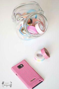 Personaliza tu móvil con washi tape. www.algomagico.com