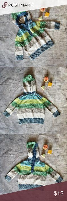 GENUINE KIDS Striped Hooded Sweater Cute 100% Cotton Knit Hooded Sweater Osh Kosh Shirts & Tops Sweatshirts & Hoodies
