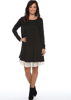 Black Dress with lace trim...you can never go wrong with adding a little spunk to simplicity!!