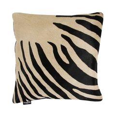 Discover+the+Amara+Zebra+Print+Cow+Skin+Cushion+-+45x45cm+-+Black+/+Beige+at+Amara