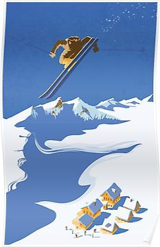 Sky skier retro ski art poster/illustration/ by ArtBySassanFilsoof Vintage Ski Posters, Canvas Prints, Art Prints, Canvas Art, Snow Skiing, Illustrations, Winter Sports, Retro, Fine Art America
