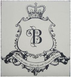 Home Decorators Collection - Personalized Family Crest - The Personalized Family Crest features intricate detail, charming antique-inspired . Decoupage, Modern Baby Bedding, Sugarboo Designs, Templer, Antique Signs, Wedding Logos, Burlap Pillows, Letter B, Crests