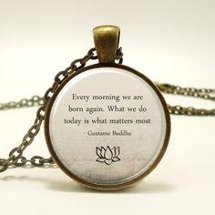 Buddha Quote Necklace, Motivational Wisdom Pendant, Inspirational Yoga Jewelry (1573B1IN) by rainnua on Etsy