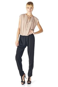 Together In Harmony Jumpsuit - Taupe + Black $49.00