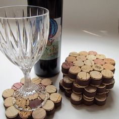 Honeycomb Cork Coaster with Brown Ribbon-Set of Four . - Honeycomb Cork Coaster with Brown Ribbon-Set of Four – House Opening, Wedding, Hostess Gift, Ente - Wine Craft, Wine Cork Crafts, Wine Bottle Crafts, Jar Crafts, Crafts With Corks, Kids Crafts, Diy With Corks, Diy Crafts For Home, Recycled Bottle Crafts