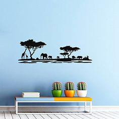 Wall Decals Safari Decal African Safari Tree Animals Africa Kids Children Nursery Baby Room Wall Vinyl Decal Stickers Bedroom Murals -- Learn more by visiting the image link.
