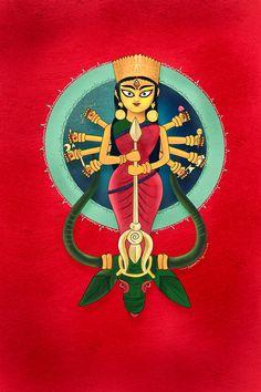 Durga Maa Paintings, Durga Painting, Lord Shiva Painting, Indian Art Paintings, Madhubani Painting, Durga Puja Wallpaper, Bengali Art, Indian Folk Art, Durga Images