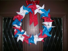 Adaptation of Pinwheel Wreath for Memorial Day and July 4.