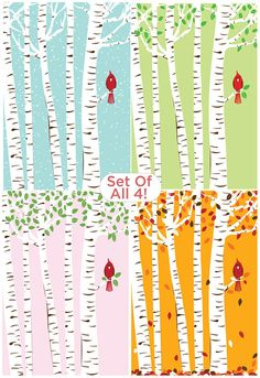 Set of all 4 Seasons Cardinal & Birch Trees Silkscreen Prints by strawberryluna. Available in my Etsy shop!