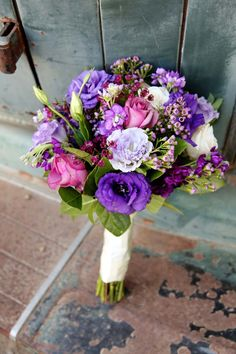 Gorgeous pink and purple bouquet | Darling Photos | On the Go Bride