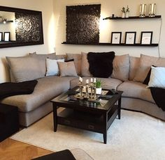Nice cool Livingroom or family room decor. Simple but perfect… – Pepi Home Decor Designs The post cool Livingroom or family room decor. Simple but perfect… – Pepi Home Decor De… . My Living Room, Home And Living, Modern Living, Living Room Ideas Tan Couch, Tan Couch Decor, Modern Sofa, Living Room Decor Brown And Black, Brown Livingroom Ideas, Living Room Decor Ideas Brown