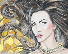 Nikki Benz Acrylic Portrait Painting w Honey Comb background Art Prints, Acrylic Portrait Painting, Illustration, Canvas Frame, Painting, Art For Sale, Art, Portrait Painting, Commission Portrait