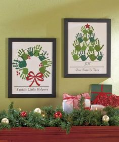 Holiday Handprint Wall Art|Perfect for two little sets of hands :)  I just love all these handprint ideas.  i only thought you could make a turkey! No vision!