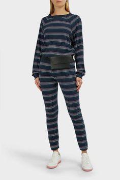 Wildfox Cheri Knox Striped Joggers In Stripes Joggers, Sweatpants, Slim Legs, Wildfox, Stripes, Tees, Cotton, Blue, Clothes