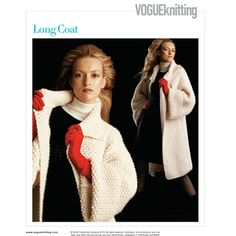 Knit Coat Pattern via Vogue Knitting Lace Scarf, Crochet Cardigan, Crochet Lace, Vogue Patterns, Coat Patterns, Knitted Coat Pattern, Sewing Coat, Knitting Stiches, Vogue Knitting