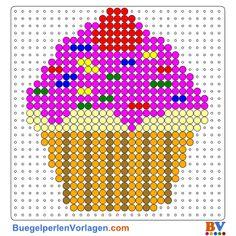 Cupcake Bügelperlen Vorlage. Auf buegelperlenvorlagen.com kannst du eine große Auswahl an Bügelperlen Vorlagen in PDF Format kostenlos herunterladen und ausdrucken.