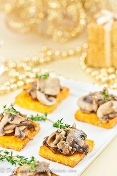 Mushroom & Caramelised onion Polenta Squares #vegetarian