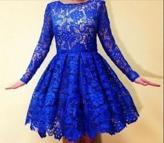 ==> [Free Shipping] Buy Best 2017 Royal Blue Lace Long Sleeves Prom Dresses Knee Length Short 8th Grade Custom Plus Size prom gowns 2017 A-Line Online with LOWEST Price | 32795679117