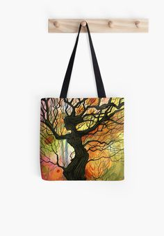 Tote Bags --- Tree of Life Series - 'Dusk' by Cherie Roe Dirksen Framed Prints, Canvas Prints, Art Prints, Chalk Pencil, Spiritual Beliefs, Divine Feminine, Designer Bags, Tree Art, Tree Of Life