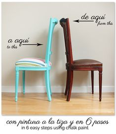 Painting a chair with chalk paint in 6 steps Chalk Paint Chairs, Painted Chairs, Chalk Paint Furniture, Dining Chair Makeover, Furniture Makeover, Upcycled Furniture, Diy Furniture, Shabby Chic Table And Chairs, Industrial Dining Chairs