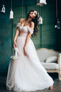 powder tulle wedding dress