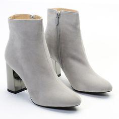 Darla Metallic Heel Ankle Boots in Grey Faux Suede | Public Desire