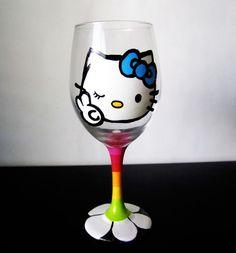 Peace, love and Hello kitty wine glass - hand painted - rainbow stem -glitter glaze - 20 oz Hello Kitty Wine, Hello Kitty Items, Wine Glass Crafts, Wine Bottle Crafts, Wine Bottles, Hand Painted Wine Glasses, Here Kitty Kitty, Peace And Love, Pots