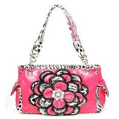 Crystal Leaf Light  Pink Leopard Rhinestone Flower Handbag