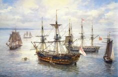"""Geoff Hunt Print - """"Spithead Anchorages"""" Ships and Vessels of Captain Aubrey's Navy. A peaceful afternoon finds several of the ships and vessels associated with Patrick O'Brian's naval hero Captain Aubrey gathered together at Spithead, just off Portsmouth Old Sailing Ships, Sailing Boat, Ship Paintings, Wooden Ship, Nautical Art, Navy Ships, Boat Plans, Ship Art, Model Ships"""