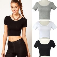 Hot Sale Summer Short Sleeves Sexy Women Basic Tees Tops Cropped shirt Blouse Classic White Black Gray Tops & Blouse