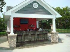 Outdoor Kitchen Bars, Outdoor Kitchen Design, Outdoor Kitchens, Outdoor Spaces, Outdoor Living, Outdoor Decor, Outdoor Pool, Pool House Shed, Pool House Plans