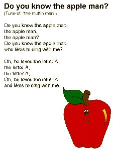 """The Apple Man"" Song.to the tune of ""the muffin man"""