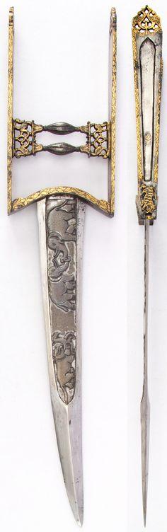 Indian katar, 18th century, 17 7/8 in. (45.4 cm); W. 3 5/8 in. (9.2 cm); Wt. 17.4 oz. (493.3 g), Met Museum, Bequest of George C. Stone, 1935.