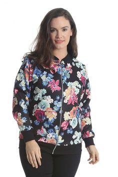 Plus Size Floral Print Bomber Jacket