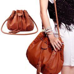 Vintage Bucket Crossbody Messenger Shoulder Bag PU Leather Handbag Purse Hobo #Unbrand #ShoulderBag