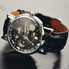 Men's watch / vintage style watch / handmade style watch / leather watch / chain hollow out mechanical watch (wat0042-black)