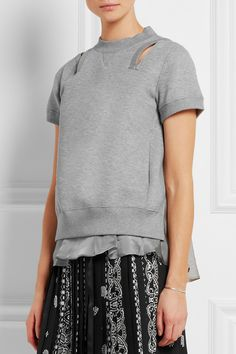 Sacai | Guipure lace-trimmed jersey and satin sweatshirt | NET-A-PORTER.COM