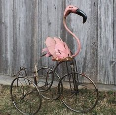 Recycled Metal Flamingo on Trike with Flower Basket - Outdoor Fun - Garden Decor
