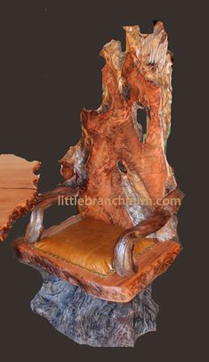 Redwood burl rustic chair
