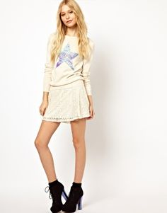 River Island Skater Skirt In Lace