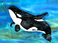 Art Wall ArtSilk PaintingOrca Whale30x30inchesWall by MysticSilks, $35.00