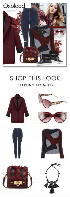 """""""Oxblood"""" by vkmd ❤ liked on Polyvore featuring Tory Burch, Topshop, Maison Margiela, Anna Sui, Lanvin, Burberry and oxblood"""