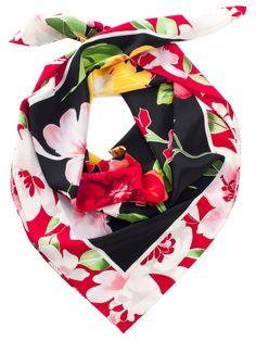 ladies black red flower print silk scarf from italy